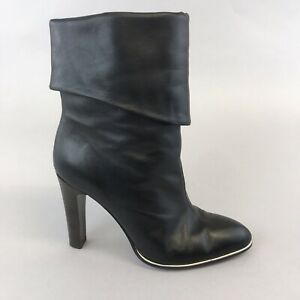 Luxury Rebel Black Leather Ankle Pull On Heeled Boho Hippies Booties Boots UK4