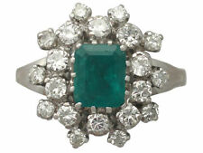 Diamond Not Enhanced Emerald White Gold Fine Rings