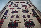 Afghan War Rug hand Made and Hand Knotted Showing helicopters, tanks, weapons.