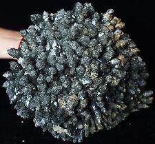 New Find NATURAL skeletal Elestial Green QUARTZ Crystal Cluster Specimen &Pyrite