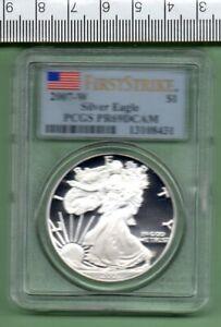 2007 W GENUINE U.S.A. FIRST STRIKE PROOF SLABBED SILVER EAGLE PCGS PR 69 DCAM