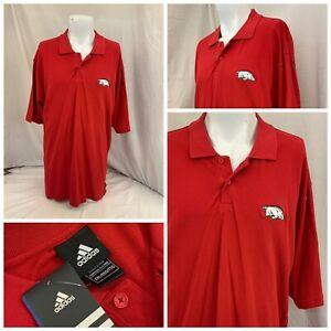 Arkansas Razorbacks Adidas Polo Shirt XXL Red Cotton Sewn On NWT YGI P1-344