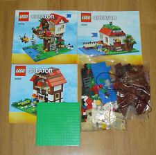 31010 LEGO CREATOR 3 in 1 casa sull'albero/Lakeside Hut fienile/Fattoria 100% COMPLETO