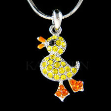 w Swarovski Crystal Yellow DUCK Wild GEESE Easter DUCKIE Ducky Charm Necklace