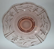 "Vintage Pink Depression Glass – 12 ½"" Shallow Bowl Etched Floral & Wheat"