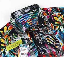 Robert Graham Hoxton Hawaiian Shirt Black Floral Tropical Short Sleeve Size M