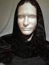 Medieval Renaissance Knight Chain mail/LINK fabric Costume hood black/silver