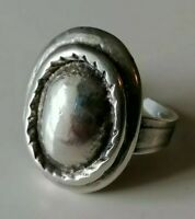 Vintage Chunky Modernist 70s Silver Tone Adjustable Ring