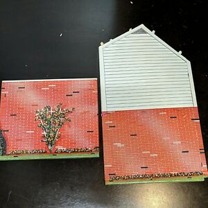 Vintage Marx's Colonial Tin Litho 2 story Dollhouse - 2 walls only parts