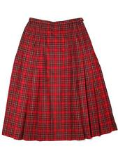 Women Pendleton Pleated Knockabout A Line Long Red Plaid Wool Skirt Size 14