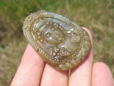 Natural Jade Kuan Yin Guan Yin  Pendant Amulet talisman stone carving  A18