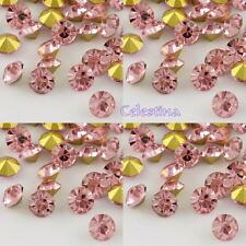 12 x Grade A Glass Chaton Rhinestones Back Plated Light Rose Pink - 3mm -  R1
