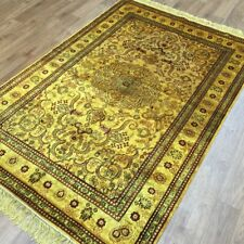YILONG 4'x6' Gold Persian Ancient Silk Handmade Area Rugs Antique Carpets G30AB
