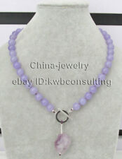 "P8138 - 18.5"" 10mm perfect round purple jade necklace + 25mm amethyst pendant-GP"