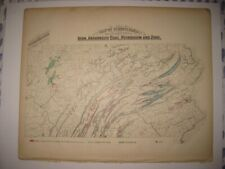 ANTIQUE 1872 IRON COAL GAS PETROLEUM ZINC MINING PENNSYLVANIA MAP GEOLOGY FINE