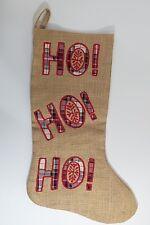 "Christmas Burlap Stocking Boot Plaid Country Cabin  Santa Sock Hanger  19 1/4"""
