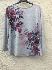 Bon Marche Grey Floral Long Sleeve Casual Top 20 Size BNWT