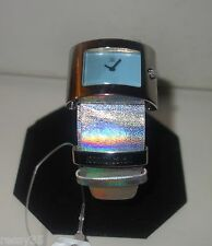 ROBERTO CAVALLI 'MOLLA' silver LEATHER WATCH new $335
