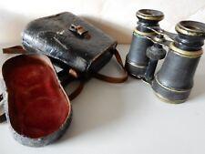 Vintage Binoculars in Worn Damaged Leather Case