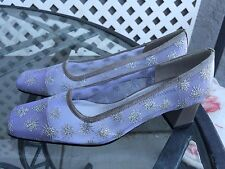NATURALIZER Womens Silver Sparkle Party Fabric Mesh Low Heels Wedding Sz 6 M