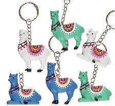 Llama Polyresin Keyring Key Chain Kids Toy / Gift 6cm 3 Colours Blue Green White