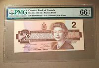 Canada BC-55b 1986 $2 Dollars Thiessen   Crow PMG 66 EPQ S/N BBP8395597