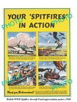OLD MILITARY POSTER BRITISH RAF WWII SPITFIRE AIRCRAFT FUND BECHUANALAND c1940