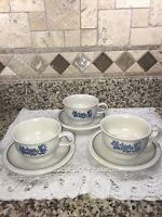 Pfaltzgraff Yorktowne FLAT Coffee Cup/Soup Mug Handle W/saucers Set of 3