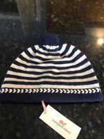 NWT Vineyard Vines Girls Nautical Navy/Striped Pom Pom Hat, Size L/XL, Retail$58