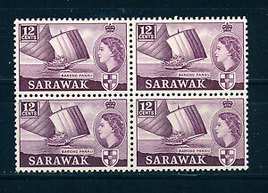 SARAWAK 1955-1957 DEFINITIVES SG194 12c (SHIP) BLOCK OF 4 MNH