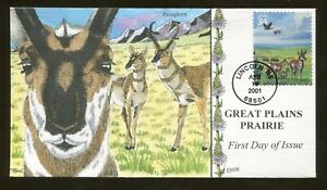 2001 Lincoln Nebraska Great Plains Prairie Pronghorn Antelope - Collins FDC