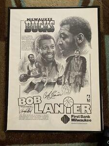 """1980 NBA Milwaukee Bucks Bob Lanier 18"""" X 24"""" Framed Black & White Poster!"""