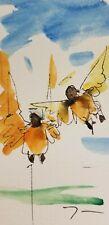 JOSE TRUJILLO ORIGINAL Watercolor Painting SIGNED Small 3x6 Child Angels