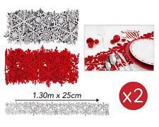 2x Christmas Table Runner Red Silver Snowflake Felt Glitter Decoration 130cm Set