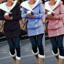 Plus Size Women Ladies Hooded Long Zipper Jacket Coat Winter Hoodie Outwear Fy