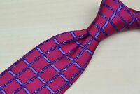 Hermes Red Blue Belt Ribbon 100% Silk Tie 7009TA France