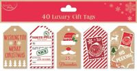 40 LUXURY GIFT TAGS CHRISTMAS NO PEEKING XMAS GIFT WRAPPING PRESENT RED NEW