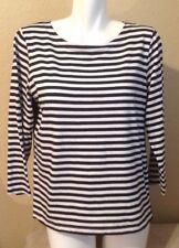 J CREW Ladies Striped Shirt Blue Size M Excellent Condition