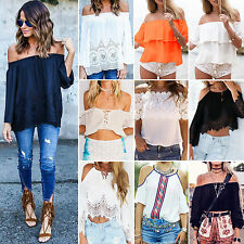 Womens Boho Summer Cold Off Shoulder Top T-shirt Casual Beach Loose Blouse Shirt