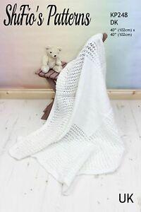 Babies Shawl Knitting Pattern, Square Shawl Blanket, Double Knitting Yarn, KP248