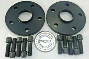 12mm MK7 GOLF 5x112 BLACK Hubcentric Spacers 57.1CB 10 Radius Bolts