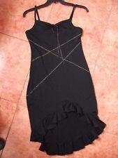 Ladies Dress size 8 Black Frilled Dipped Hemline Vintage 90s