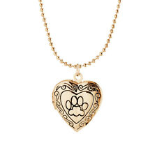 Frame Animal Dog Paw Print Necklace Gold Silver Locket Heart Pendant Jewelry