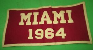 VINTAGE 1964 MIAMI COLLEGE WOOL PENNANT BANNER FLAG BY COLLEGIATE AMES IOWA USA