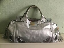 Authentic large Gucci metallic silver leather tote bag