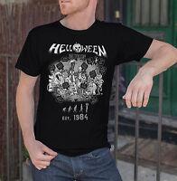 Helloween Anniversary Men Black T-shirt Metal Band Fan Tee Shirt