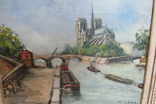 Old Signed Oil Painting Paul Feron Seine River Notre Dame Paris Marshall Fields