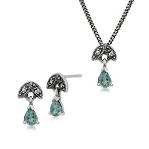 Sterling Silver Aquamarine & Marcasite March Stud Earring & 45cm Necklace Set