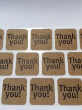 "250 Thank You Stickers Labels Natural Kraft Paper 1"" x 1"" Seals Thank You Craft"