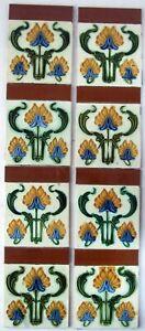 Very Stylish Original  Set of Antique Art Nouveau Fireplace Tiles Birmingham